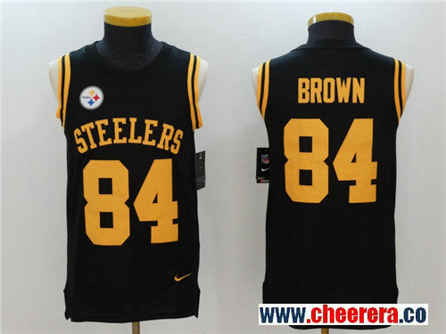 Men's Pittsburgh Steelers #84 Antonio Brown Black Color Rush 2017 Vest Stitched NFL Nike Tank Top Jersey