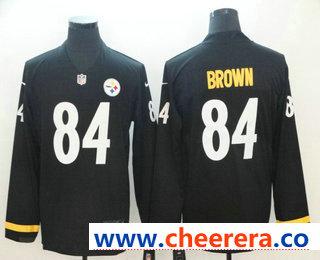 Men's Pittsburgh Steelers #84 Antonio Brown Nike Black Therma Long Sleeve Limited Jersey