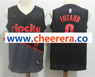 Men's Portland Trail Blazers #0 Damian Lillard Black Nike 2019 New Season Swingman City Edition Jersey