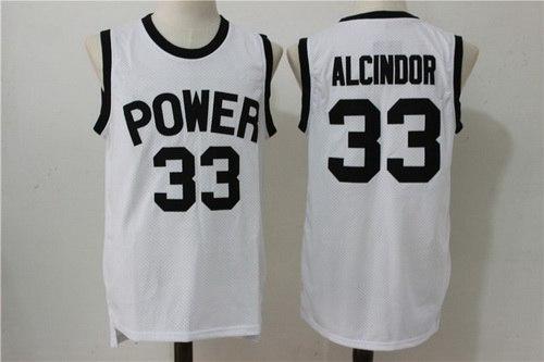 Men's Power Memorial Academy High School #33 Alcindor Kareem Abdul-Jabbar White Soul Swingman Basketball Jersey