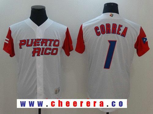 Men's Puerto Rico Baseball #1 Carlos Correa Majestic White 2017 World Baseball Classic Stitched Authentic Jersey