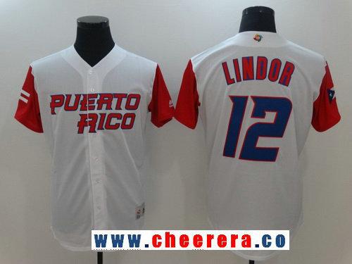 Men's Puerto Rico Baseball #12 Francisco Lindor Majestic White 2017 World Baseball Classic Stitched Authentic Jersey