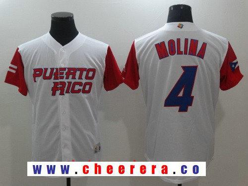 Men's Puerto Rico Baseball #4 Yadier Molina Majestic White 2017 World Baseball Classic Stitched Authentic Jersey