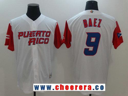Men's Puerto Rico Baseball #9 Javier Baez Majestic White 2017 World Baseball Classic Stitched Authentic Jersey