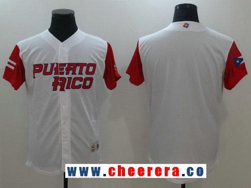 Men's Puerto Rico Baseball Majestic White 2017 World Baseball Classic Blank Team Jersey