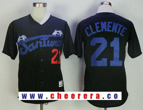 Men's Puerto Rico Cangrejeros De Santurce #21 Roberto Clemente Black Stitched Baseball Jersey