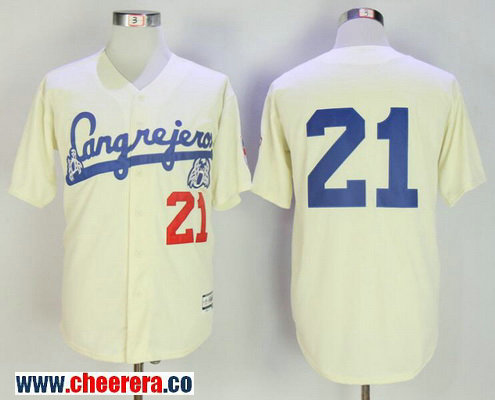 Men's Puerto Rico Cangrejeros De Santurce #21 Roberto Clemente Cream Collection Stitched Baseball Jersey
