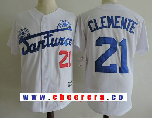 Men's Puerto Rico Cangrejeros De Santurce #21 Roberto Clemente White Stitched Baseball Jersey