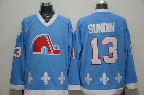Men's Quebec Nordiques #13 Mats Sundin Light Blue CCM Vintage Throwback Jersey