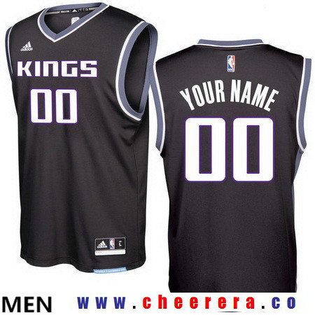 Men's Sacramento Kings Black 2016-17 Custom adidas Swingman Alternate Basketball Jersey