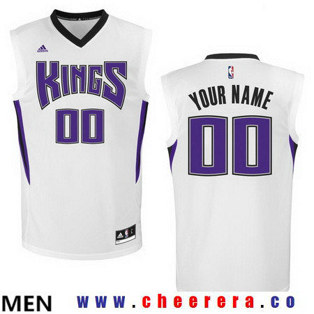 Men's Sacramento Kings Historic White Custom adidas Swingman Home Basketball Jersey
