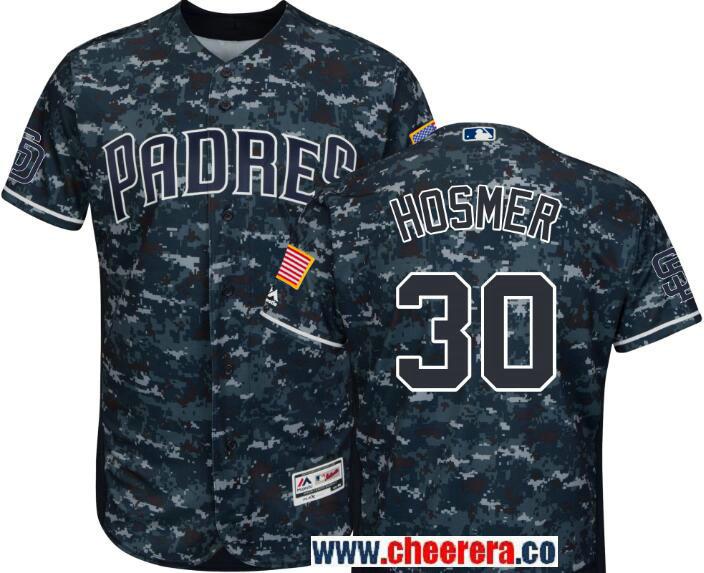 Men's San Diego Padres #30 Eric Hosmer Majestic Navy Camo Alternate Flex Base Authentic Collection Custom Jersey