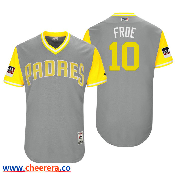 Men's San Diego Padres Authentic Hunter Renfroe #10 Gray 2018 LLWS Players Weekend Froe Jersey