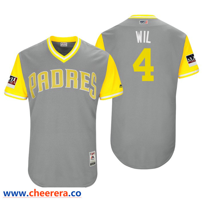 Men's San Diego Padres Authentic Wil Myers #4 Gray 2018 LLWS Players Weekend Wil Jersey