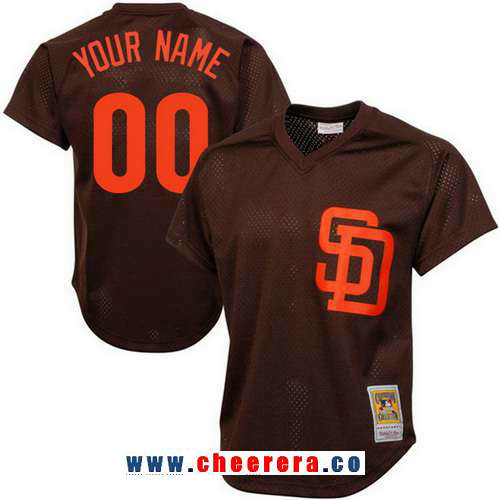 Men's San Diego Padres Brown Mesh Batting Practice Throwback Majestic Cooperstown Collection Custom Baseball Jersey
