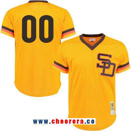 Men's San Diego Padres Gold Mesh Batting Practice Throwback Majestic Cooperstown Collection Custom Baseball Jersey
