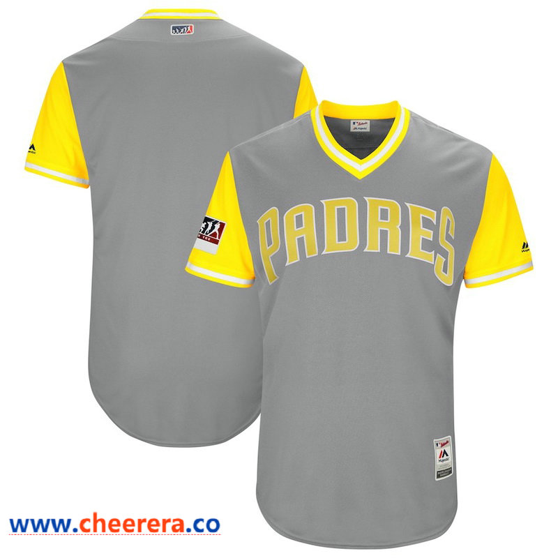 Men's San Diego Padres Majestic Gray Yellow 2018 Players' Weekend Authentic Team Jersey