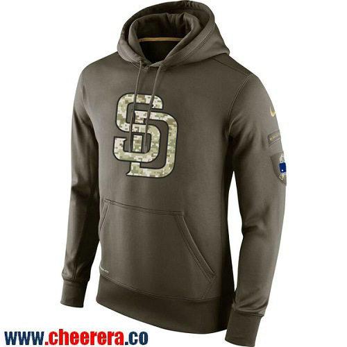 Men's San Diego Padres Nike Olive Green Salute To Service MLB KO Performance Hoodie