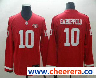 Men's San Francisco 49ers #10 Jimmy Garoppolo Nike Red Therma Long Sleeve Limited Jersey