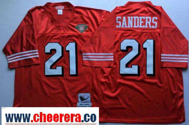 Men's San Francisco 49ers #21 Deion Sanders Red 75TH Throwback Jersey By Mitchell & Ness