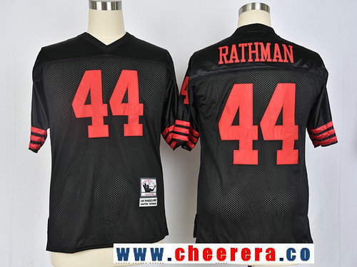 Men's San Francisco 49ers #44 Tom Rathman Black Throwback Stitched NFL Jersey by Mitchell & Ness