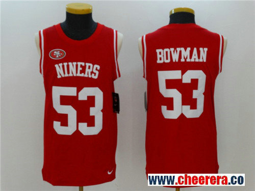 Men's San Francisco 49ers #53 NaVorro Bowman Red Color Rush 2017 Vest Stitched NFL Nike Tank Top Jersey