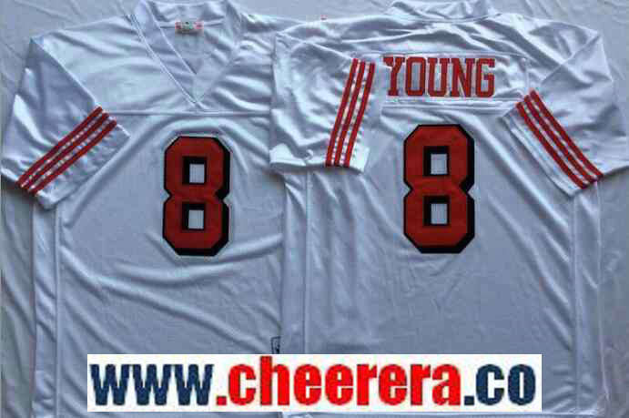 Men's San Francisco 49ers #8 Steve Young White 75TH Throwback Jersey By Mitchell & Ness