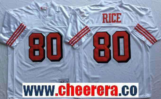 Men's San Francisco 49ers #80 Jerry Rice White 75TH Throwback Jersey By Mitchell & Ness