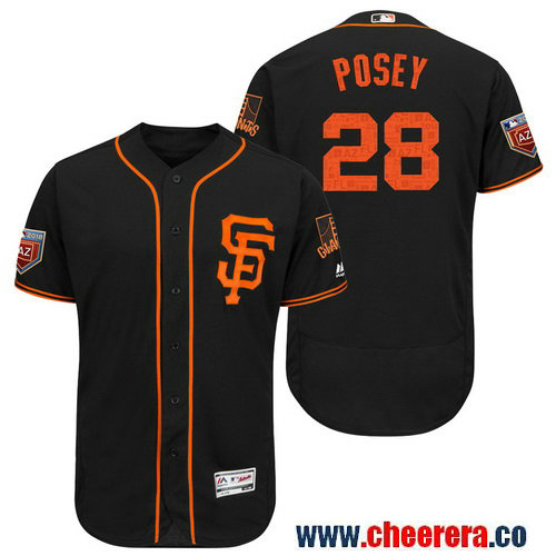 Men's San Francisco Giants #28 Buster Posey Black 2018 Spring Training Flex Base Jersey