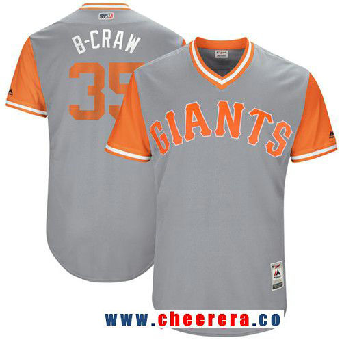 Men's San Francisco Giants Brandon Crawford -B-Craw- Majestic Gray 2017 Little League World Series Players Weekend Stitched Nickname Jersey