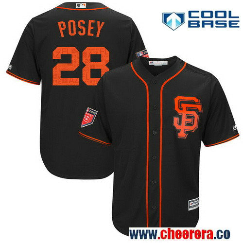 Men's San Francisco Giants Buster Posey Majestic Black 2018 Spring Training Cool Base Player Jersey