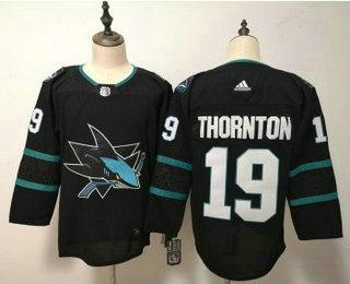 Men's San Jose Sharks #19 Joe Thornton NEW Black 2017-2018 Hockey Stitched NHL Jersey