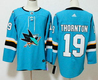 Men's San Jose Sharks #19 Joe Thornton Teal Blue 2017-2018 Hockey Stitched NHL Jersey