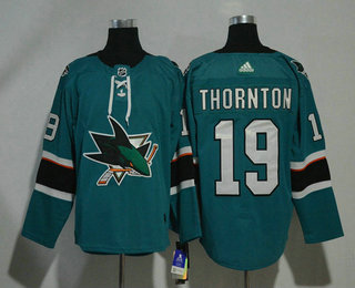 Men's San Jose Sharks #19 Joe Thornton Teal Green 2017-2018 Hockey Stitched NHL Jersey
