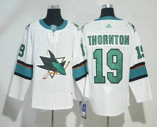 Men's San Jose Sharks #19 Joe Thornton White 2017-2018 Hockey Stitched NHL Jersey