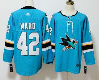 Men's San Jose Sharks #42 Joel Ward Teal Blue 2017-2018 Hockey Stitched NHL Jersey