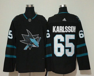 Men's San Jose Sharks #65 Erik Karlsson NEW Black 2017-2018 Hockey Stitched NHL Jersey