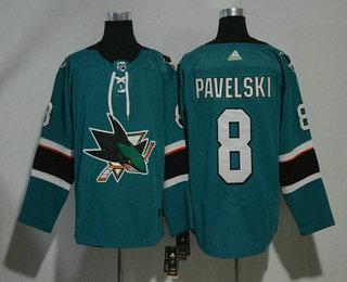 Men's San Jose Sharks #8 Joe Pavelski Teal Green 2017-2018 Hockey Stitched NHL Jersey