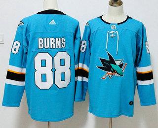 Men's San Jose Sharks #88 Brent Burns Teal Blue 2017-2018 Hockey Stitched NHL Jersey