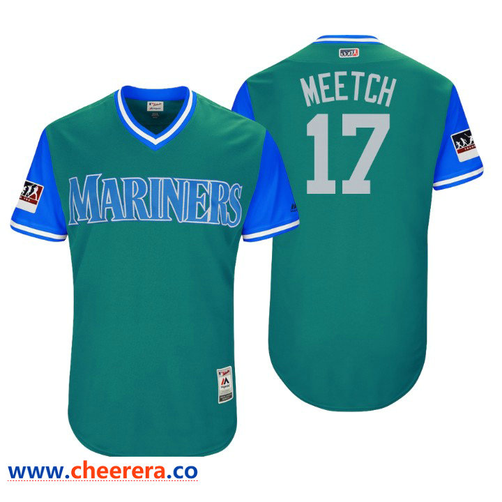 Men's Seattle Mariners Authentic Mitch Haniger #17 Aqua 2018 LLWS Players Weekend Meetch Jersey