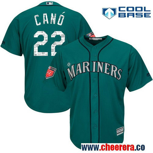 Men's Seattle Mariners Robinson Cano Majestic Aqua 2018 Spring Training Cool Base Player Jersey