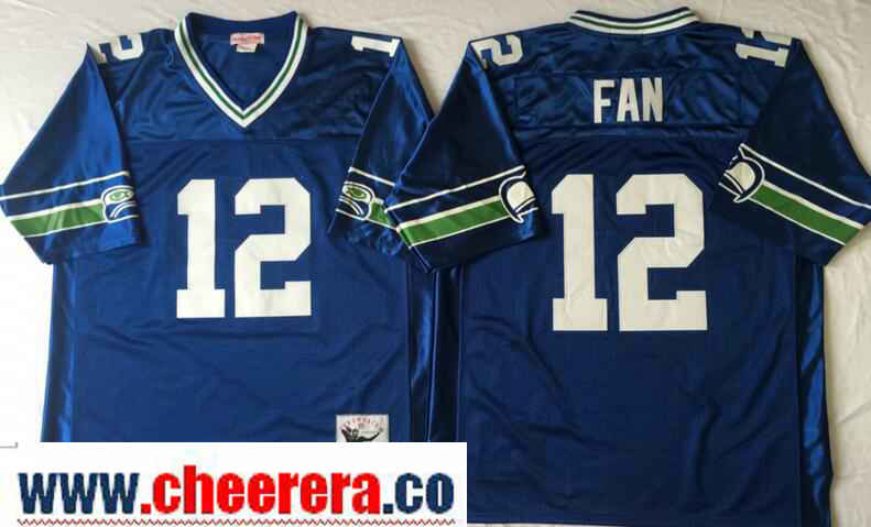 Men's Seattle Seahawks #12th Fan Royal Blue Throwback Jersey by Mitchell & Ness