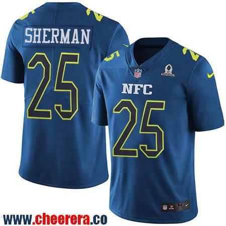Men's Seattle Seahawks #25 Richard Sherman Navy Blue NFC 2017 Pro Bowl Stitched NFL Nike Game Jersey