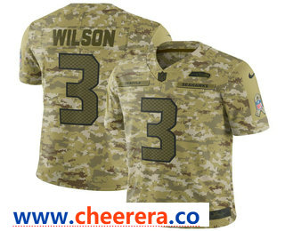 Men's Seattle Seahawks #3 Russell Wilson 2018 Camo Salute to Service Stitched NFL Nike Limited Jersey