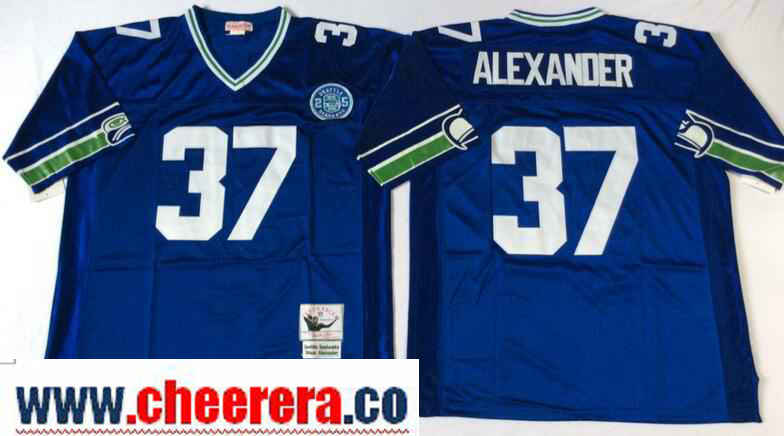 Men's Seattle Seahawks #37 Shaun Alexander Royal Blue Throwback Jersey by Mitchell & Ness