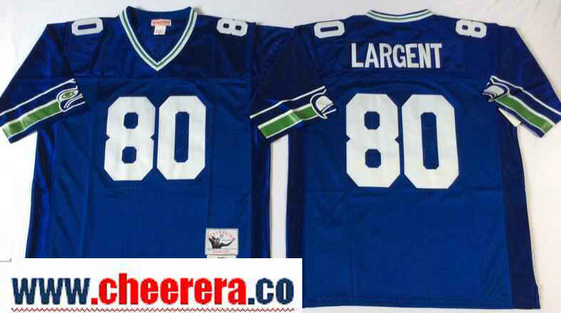Men's Seattle Seahawks #80 Steve Largent Royal Blue Throwback Jersey by Mitchell & Ness