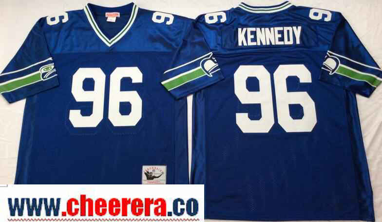 Men's Seattle Seahawks #96 Cortez Kennedy Royal Blue Throwback Jersey by Mitchell & Ness