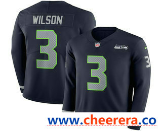 Men's Seattle Seahawks Russell #3 Wilson Nike Navy Therma Long Sleeve Limited Jersey