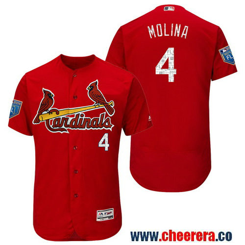 Men's St. Louis #4 Cardinals Yadier Molina Majestic Scarlet 2018 Spring Training Flex Base Player Jersey