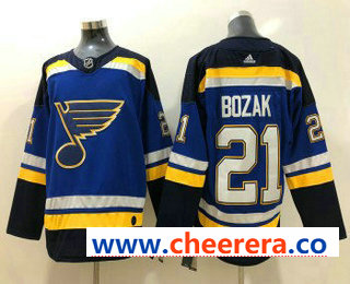 Men's St. Louis Blues #21 Tyler Bozak Blue 2017-2018 Hockey Stitched NHL Jersey